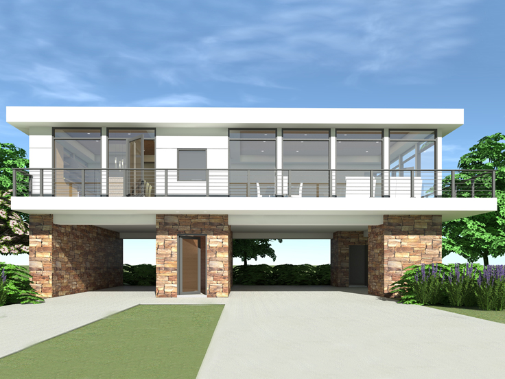 Carport Apartment Plan 052G-0016