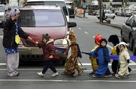 Street Crossing on Halloween