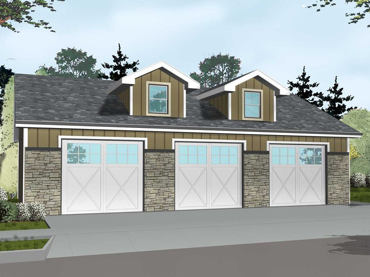 Garage Plan with Boat Storage 050G-0076