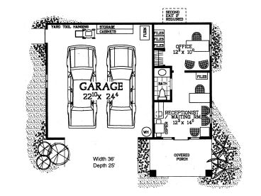 Garage plans with flex space contemporary two car garage for Garage plans with shop space