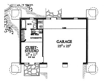 Garage apartment plans 2 car garage plan with guest for Single story garage apartment