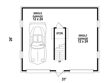 2 Car Garage Loft 006G 0065 1st Floor Plan