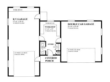 rv garage plans rv garage plan with 2 car garage and workshop design 010g 0010 at. Black Bedroom Furniture Sets. Home Design Ideas