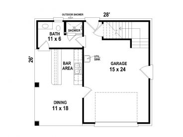 One car garage plans 1 car garage plan with pool bath for Pool house plans with garage