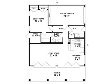 1 Car Garage Apartment 006g 0154 Floor Plan