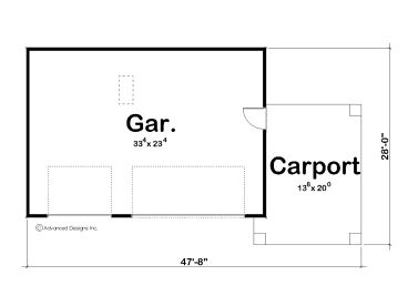 Craftsman style two car garage plan with carport and for Single car carport dimensions