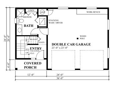 Garage plans with flex space 2 car garage plan with flex for Garage with living quarters one level