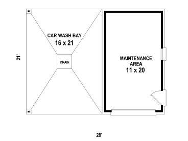 Garage plans with carports 1 car garage plan with car wash bay floor plan malvernweather Images