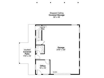 Garage Plans with Flex Space   1-Car Garage Plan with Office ...