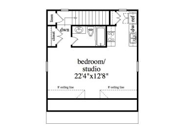 Studio Apartment Plan garage apartment plans | 2-car garage & studio apartment #053g