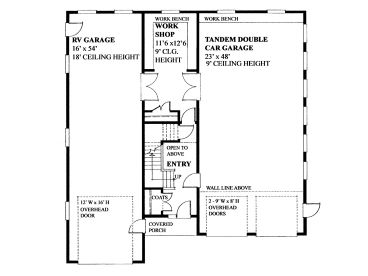 Tandem garage plans tandem garage plan with workshop rv for 2 car tandem garage