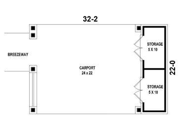 Carport Plans 2 Car Carport Plan With Storage Space 006g 0048 At