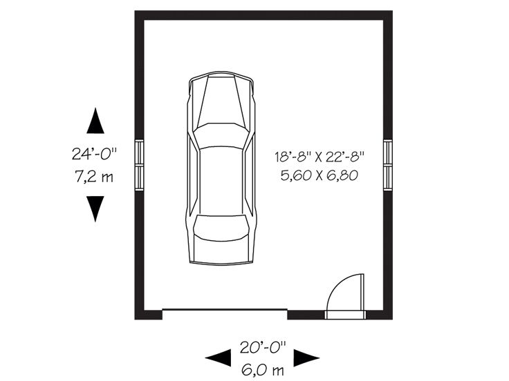 Car Garage Floor Plan: Detached One-Car Garage Plan With Hip