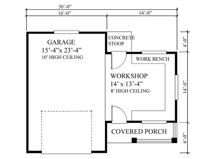 Garage workshop plans one car garage workshop plan for Two car garage with workshop plans