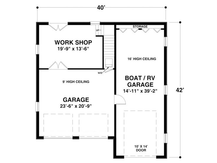 Rv garage plans rv garage plan with workshop and for Rv apartment plans