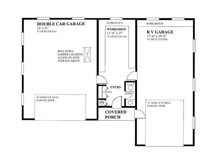 Boat storage garage plans 2 car boat storage garage plan for Rv garage floor plans