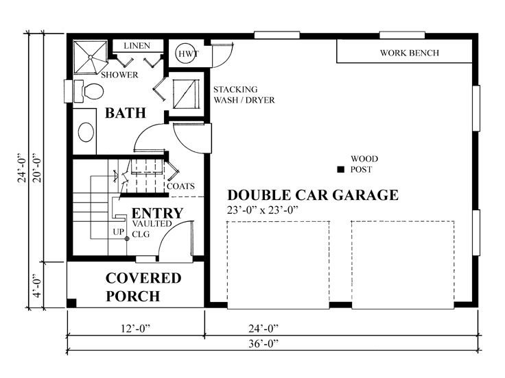 Garage plans with flex space 2 car garage plan with flex for Shop building plans with living quarters