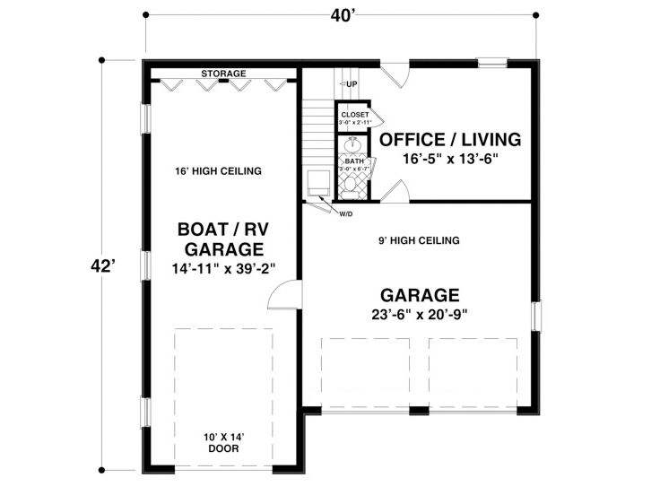Garage plans with boat storage boat storage garage plan for Rv storage building plans