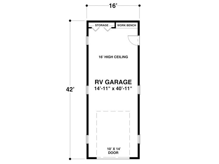 Rv garage plans detached rv garage plan single bay for Rv garage door dimensions