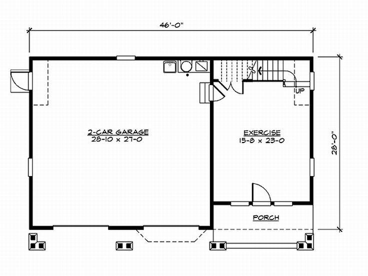 Garage plans with flex space craftsman style 2 car for Garage plans with shop space