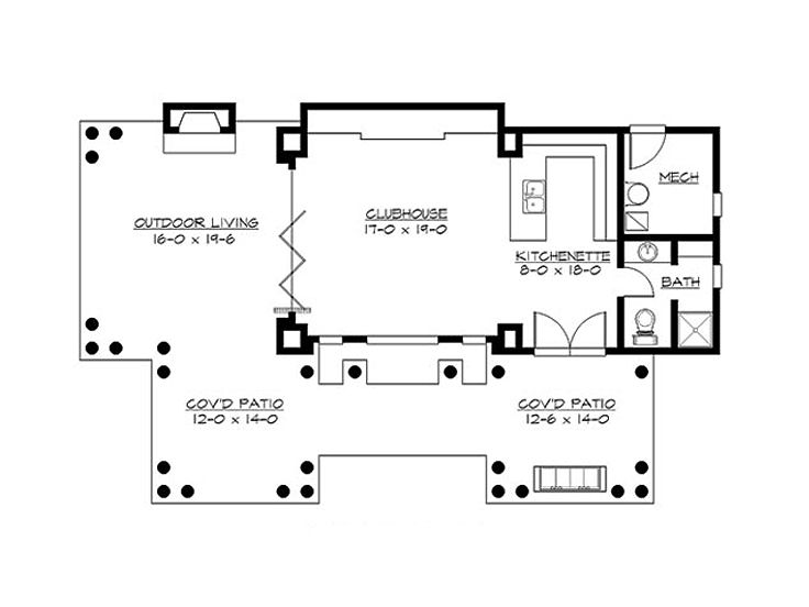 Pool house plans pool cabana with covered patio and for Pool cabana floor plans