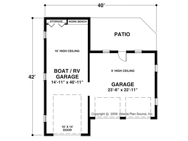 Rv garage plans rv garage plan with attached 2 car for How big is a two car garage