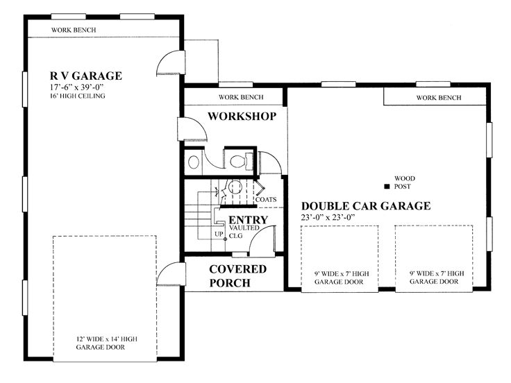 Rv garage plans rv garage plan with future apartment for Rv garage door dimensions