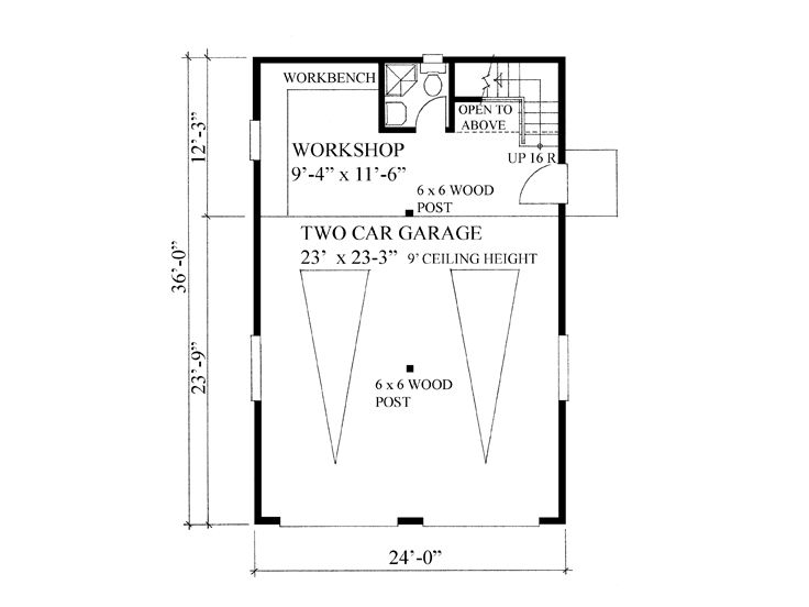 Garage workshop plans 2 car garage workshop plan with for Two car garage with workshop plans