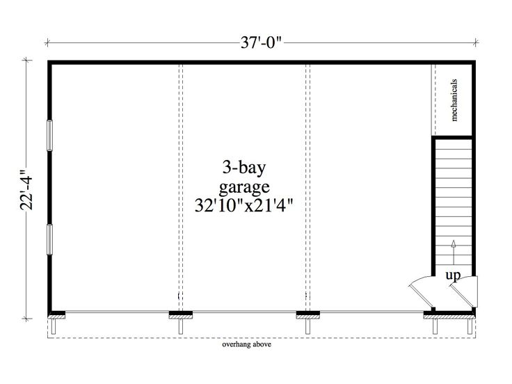 Three car garage plans 3 car garage apartment plan 053g for Garage bay size
