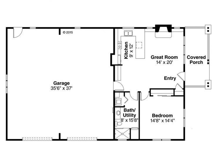 Garage apartment plans 1 story garage apartment plan for Single car garage with apartment above plans