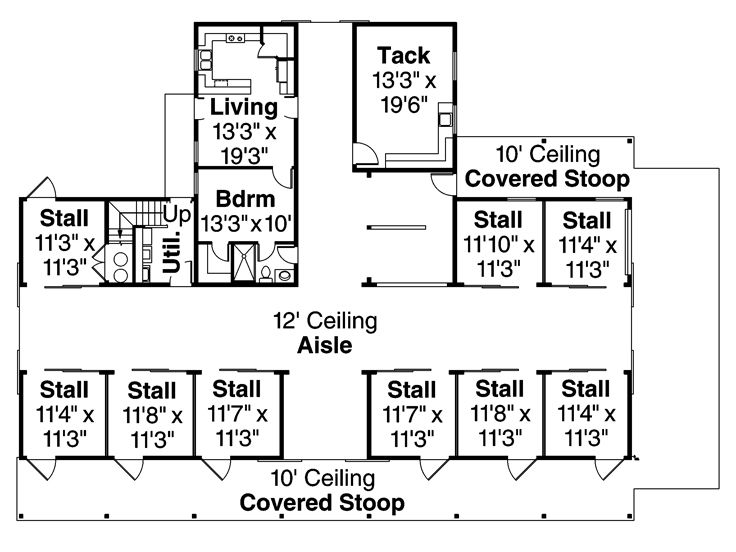 Barn plan outbuilding plan or barn plan with living for Shop with living quarters plans