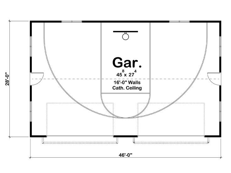 Basketball Court Floor Plan: Unique Four-Car Garage Plan Doubles