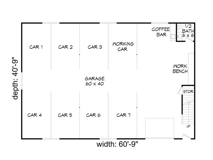 Car Garage Floor Plan: 8-Car Garage Loft Plan # 062G