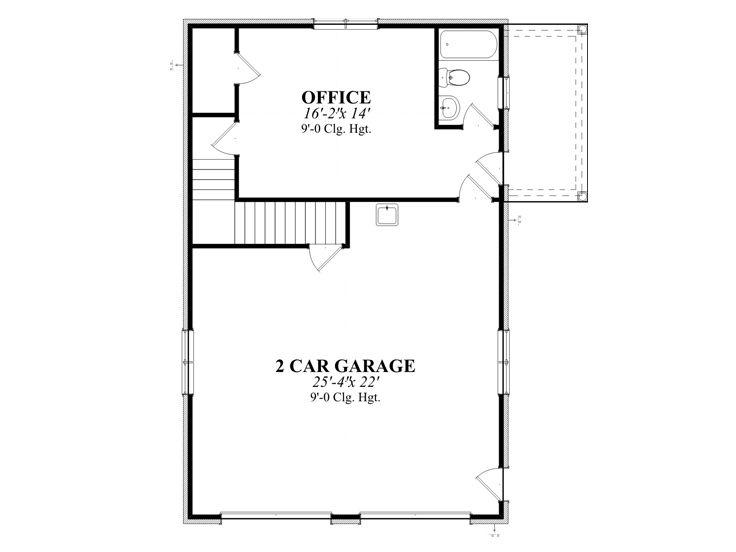 Garage plans with flex space detached 2 car garage plan for Garage plans with office space