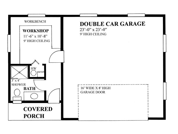 2 car garage plans two car garage plan with workshop for Two car garage with workshop plans
