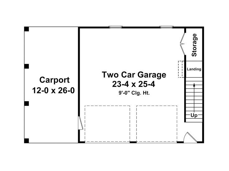 Garage Plans with Carport 2Car Garage Plan with Carport 001G