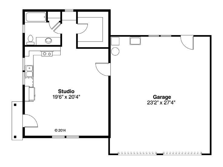 Garage plan with flex space two car garage plan with for Garage plans with shop space