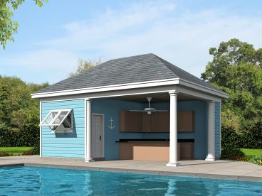 Pool house plans and cabana plans the garage plan shop for Small pool house with bathroom