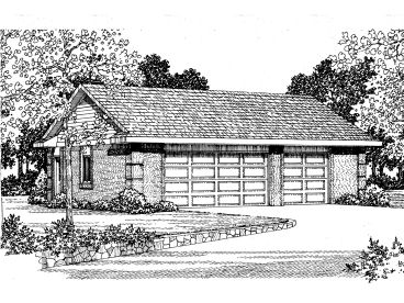 Three-Car Garage Plan, 057G-0021