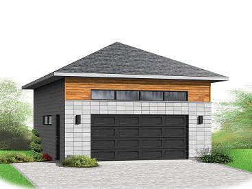 Two car garage plans contemporary 2 car garage plan for Hip roof garage plans