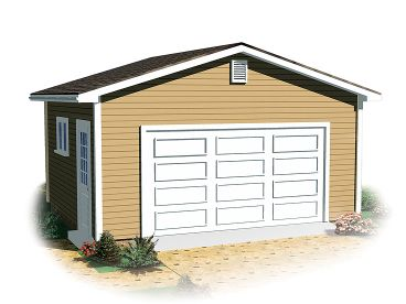 Detached 1 Car Garage Plan, 028G-0042