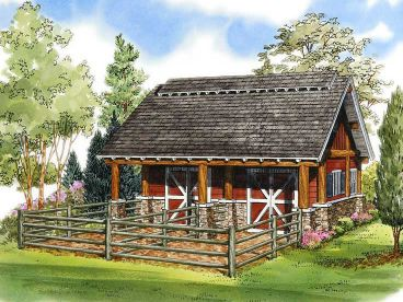 Horse Barn Plans Two Stall Horse Barn Plan With Loft