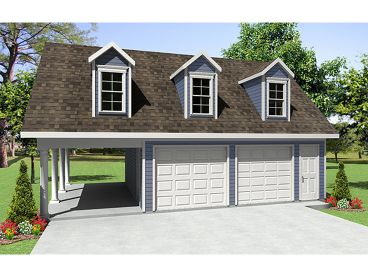 Garage Plan with Carport, 001G-0003
