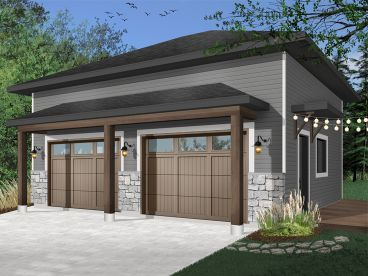 Modern 2-Car Garage Plan, 028G-0065