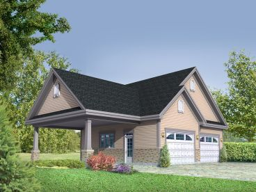 2-Car Garage Plan with Carport, 072G-0024
