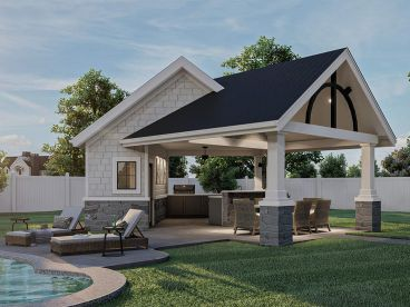 Pool House Plan, 050P-0001