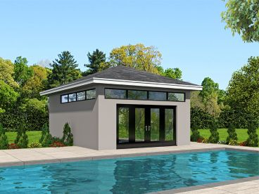 Pool house plans and cabana plans the garage plan shop for Pool house plans with garage