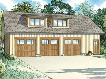 3-Car Garage Apartment Plan, 025G-0014