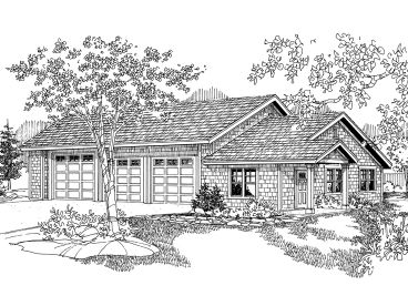 Three-Car Garage Plan, 051G-0037