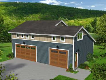 3-Car Garage Plan with Loft, 062G-0095
